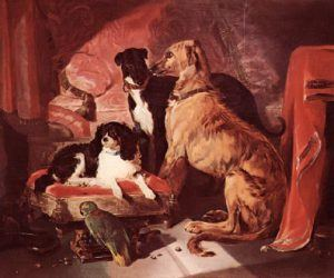 "Queen Victoria's Favorite Dogs and Parrot painted by Sir Edwin Landseer, exhibited in 1838. The composition is centered around the be-ribboned spaniel, ""Dash"". Lying on a velvet covered footstool, he is surrounded by ""Hester,"" ""Nero,"" and ""Lorey"" the parrot."